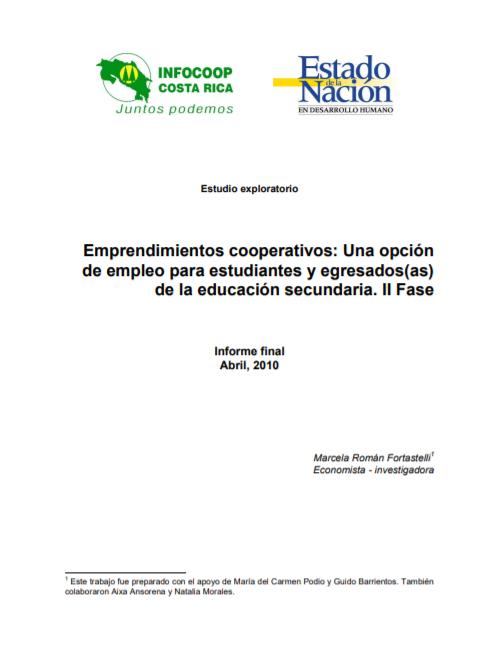 Emprendimientos cooperativos: Una opción de empleo para estudiantes y egresados(as) de la educación secundaria.